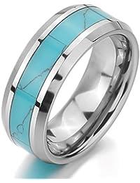 MunkiMix Tungsteno Anillo Ring Banda Venda Turquesa Turquoise El Tono De Plata Azul Comodidad Cómodo Alianzas Boda Hombre,Mujer