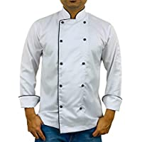 Chef Coat White With Pearl Button and Black Piping (White, Large)