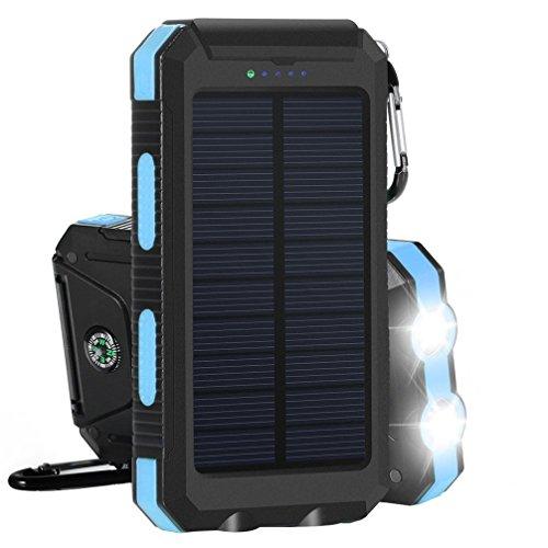 10000mAh Solar Power Bank Solar Ladegerät Dual USB-Solar Charger SunPower mit 2 LED-Taschenlampe,Wasserfest,staubdicht und stoßfest Externer Akku mit Kompass und Karabiner für Handy(Blau)