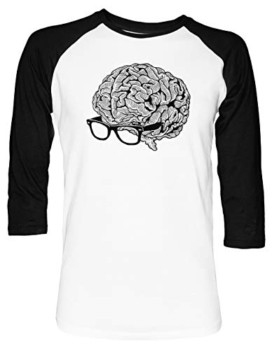 Gehirn mit Brille Unisex Baseball T-Shirt 2/3 Ärmel Herren Damen Weiß Schwarz