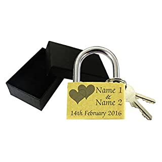 Love Lock 40mm Personalised Engraved Padlock with Gift Box, Christmas, Anniversary, Present Double Heart, Made And Engraved By TSM Trading