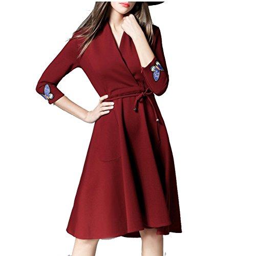 Melansay Femmes Robe de Soirée Élégantes Robes Vintage Manchon Coudé avec Broderie Cocktail Robe de Fête Vin Rouge