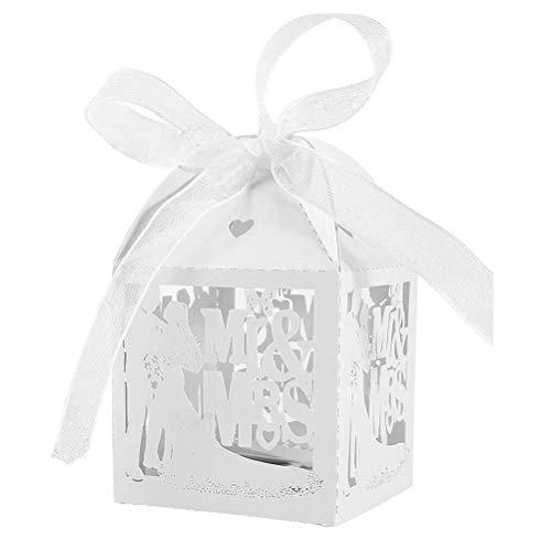 Jzk 50 mr & mrs sposa sposo bianco scatolina portaconfetti scatola bomboniera segnaposto per matrimonio anniversario addio al nubilato