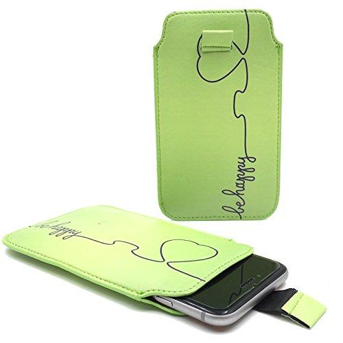 Handy Hülle Slide Tasche Etui Case Schutzhülle Bumper Cover Sleeve Universal Neu, Motive:Be Happy Grün, Handymodell:Gionee Ctrl V5