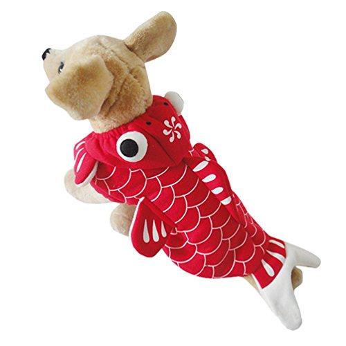 Yuncai Lustige Halloween Party Haustier Hund Kleidung Stereoskopisch Goldfisch Verkleidung Kostüm für Katzen Cosplay Rot S