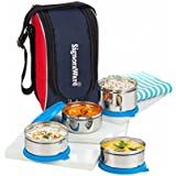 Signoraware Executive Max Fresh Stainless Steel Lunch Box Set, Set Of 4, Blue