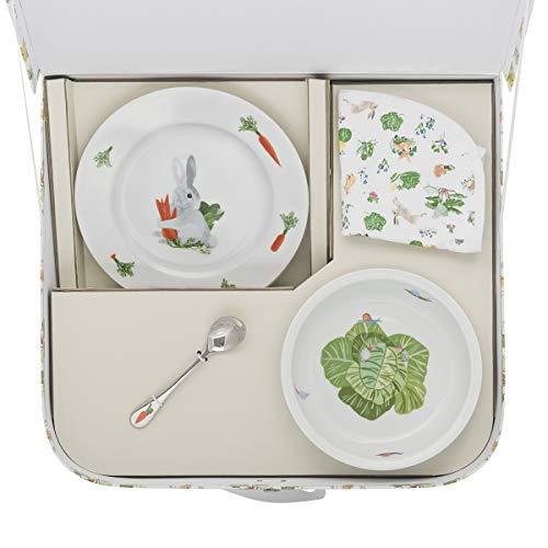 DEGRENNE 231761 Les Amis du Potager Valisette Dessert + Assiette Creuse + cuillère à café + Bavoir, Multicolor