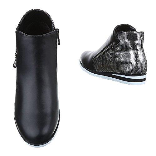 9cc9c0057e7e01 ... Ital-Design Chelsea Boots Damen Schuhe Chelsea Boots Keilabsatz  Wedge Moderne  Reißverschluss Stiefeletten Schwarz