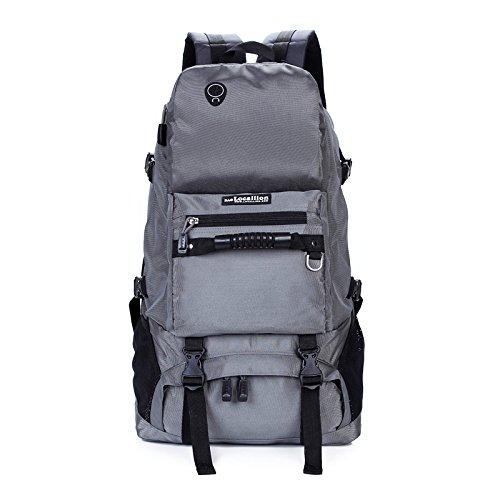 Dlflyb Doppel Schultertasche Große Kapazität Reisetasche Camping Bergsteigen Tasche gray