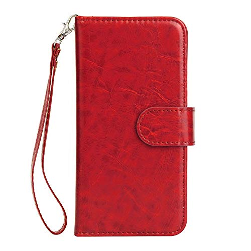 Huphant iPhone 7 Plus Hülle, [9 Card Slots] Schutzhülle für iPhone 7 Plus/iPhone 8 Plus HandyHülle Schwarz Flip Wallet Case Leder Tasche Bumper Stand Funktion Kartenfächer Magnet Closure -Rot
