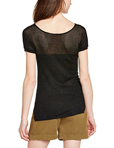 Naf Naf Maestra - T-shirt - Uni - Manches courtes - Femme Noir (Black)