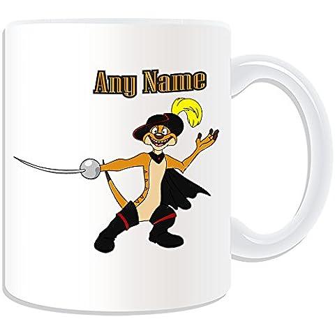 De regalo con mensaje personalizado - taza de desayuno con diseño de suricata en botas (molde para hacer una diseño de, blanco) - nombre personalizable para/de mensaje tu diseño de - Knight mosquetero espada de gato