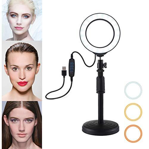 Jamicy® 3.5 Zoll LED Ringlicht mit Tischfuß, 3 Modi LED Ring Videofotografie mit Farbfilter für Make up, Kamera/Smartphone YouTube Video Aufnahmen -
