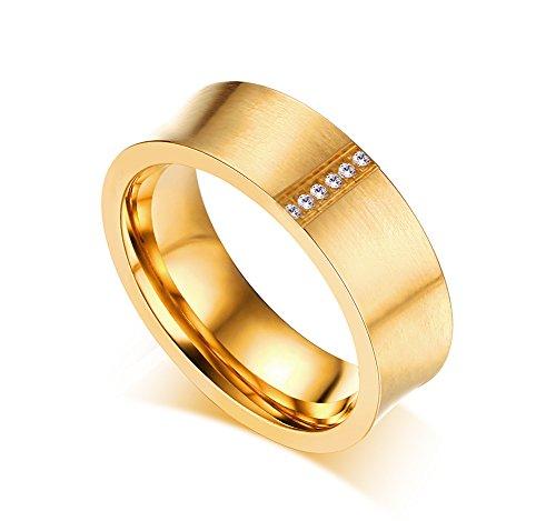 Vnox Frauen Edelstahl konkave Oberfläche Zirkonia Paare Versprechen Band Ring für Hochzeit Engagement Gold Versprechen Ring Für Paare
