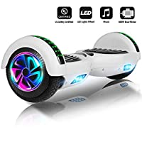 """Jolege Hoverboard 6.5"""" Two Wheel Smart Self Balancing Electric Scooter with Buletooth LED Wheel Light for Kids Adults - UL2272 Certified, Includes Free Portable Bag and Charger (White)"""