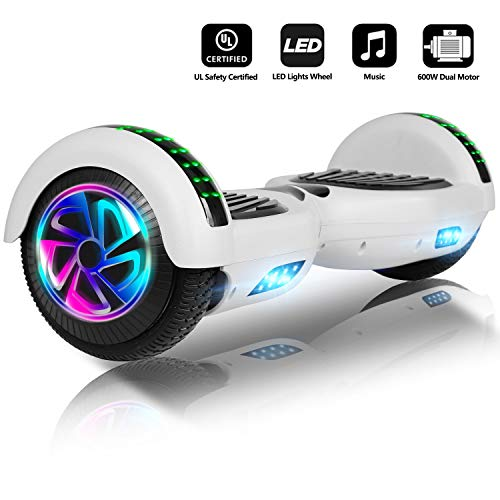 Jolege 6.5\' Hoverboard mit Bluetooth & LED, Self Balancing Electric Scooter, Hoverboard Kinder, Segway, Dual 300W Motor, Kostenlose Tragetasche, UL 2272 Certified (Weiß)