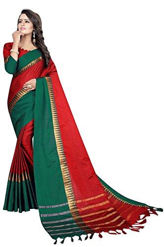 2a88b49b7c0 Women s cotton Silk Saree With Blouse Piece (RedramaTAMPLE)