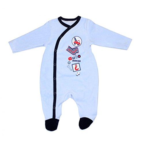 Baby Schlafstrampler Jungen Nicki Strampelanzug mit Aufdruck Schlafoverall Winter Einteiler Strampler Mädchen, Farbe: Blau, Größe: 68