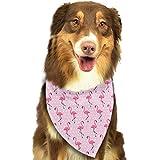 Wfispiy Rosa Flamingo auf rosa Muster-weicher Baumwollklassischer Tier-Bandana-Haustier-Hundekatze-Dreieck-Lätzchen