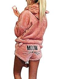 ZiXing Pijama Mujer Invierno Conjunto de Pijamas Pantalones Manga Larga y 2 Piezas Ropa de Dormir