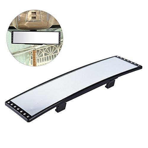 ALLCACA Weitwinkel Rear View Spiegel Innen Wechselrahmen Rückspiegel anti-dazzling Blind Spot Spiegel mit Strass und verstellbare Schnallen, 28,7 x 6,9 cm