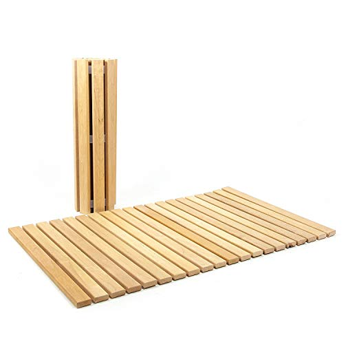 HolzFee Holz Vorleger Holzmatte Rollmatte ERLENHOLZ 100 x 60 cm
