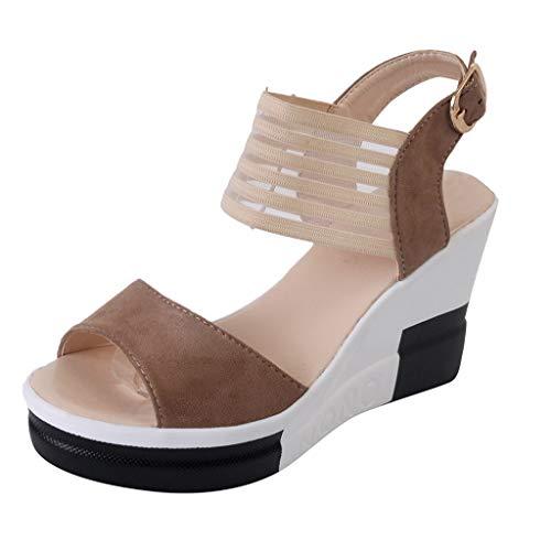 FNKDOR Schuhe Sandalen Keilabsatz Damen Peep-Toe Slingback Wedge Sandals Knöchelriemen Schnalle Muffin Unten Casual Sandalen Braun 36 EU -