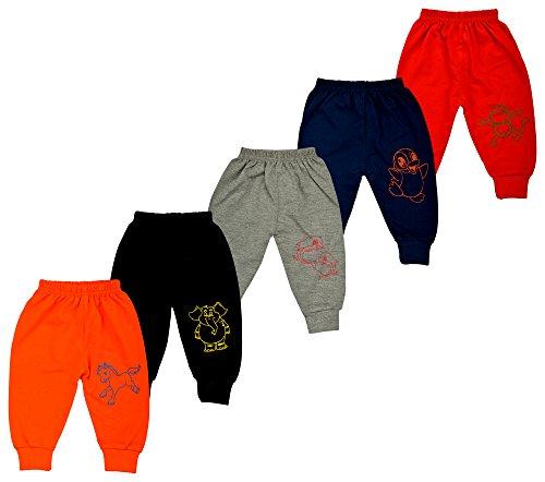 Kuchipoo Baby Bottoms Baby Leggings Kids Pajamas Set- Pack of 5 (Multi-Coloured, 6-12 Months)