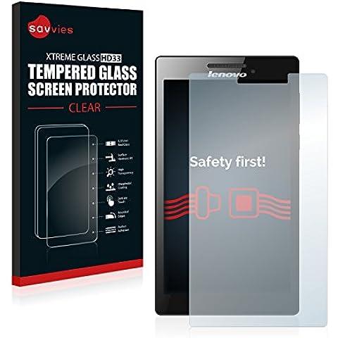 Savvies Protector Cristal Templado Lenovo Tab 2 A7-10 / 20 / 30 (camera right) Protector Pantalla Vidrio - Dureza 9H