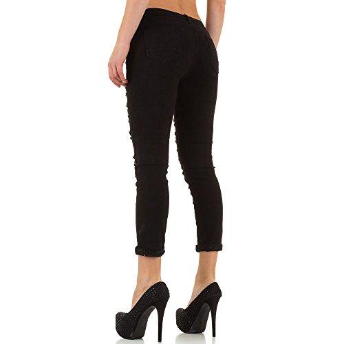 Destroyed Spitzen Skinny Jeans Für Damen bei Ital-Design Schwarz