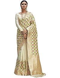 AKHILAM Women's Checkered Banarasi Silk Blend Saree with Unstitched Blouse Piece (Off-White_KUSLYA73001)