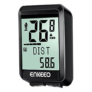 Enkeeo - Ciclocomputador Inalámbrico 2.4G transmisión Potente con Cadencia, Velocímetro, Odómetro Multifuncional para Marcar Distancia, Velocidad, Tiempo, Calorías, temperatura, CO2