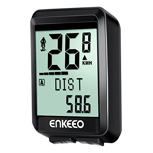 ENKEEO Fahrradcomputer Kabellos - 1537 Drahtlos Wasserdicht Fahrradtacho 2.4G Getriebe mit 17 Funktionen, Verfolgung von Distanz, Geschwindigkeit, Trittfrequenzsensor, Zeit, Kalorien, Temperatur, CO2