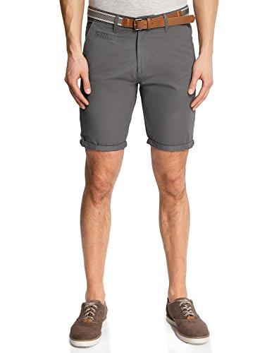oodji Ultra Uomo Pantaloncini in Cotone con Cintura, Grigio, IT 48 / EU 44 / L