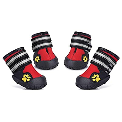 Petacc Waterproof Dog Boots Paws Protectors Nonslip Dog Shoes, 4 Pcs from Petacc
