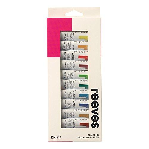 Reeves - Pintura gouache 10 ml, colores surtidos - Paquete de 12