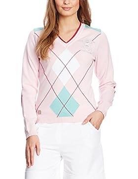 XFORE jersey de punto de golf para mujer con manga larga, cuello pico, con rombos, Park Royal, de color rosa