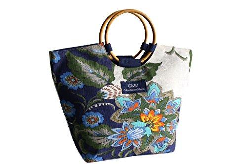 Borsa mare Gian Marco Venturi manici legno l.fiori moda mare 44374 blu