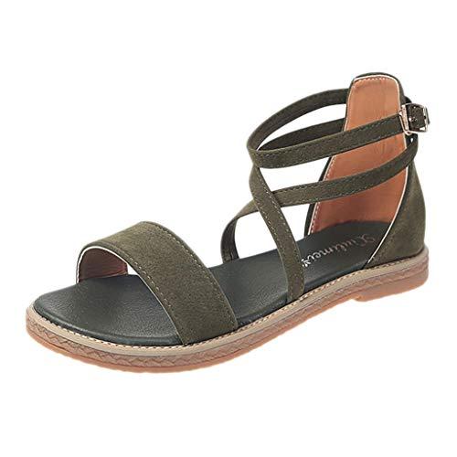 Xmiral Strandschuhe Damen Cross Belt Flache römische Schuhe Sommer Gummisohle Sandale Schnallenriemen Riemchensandalen(Grün,38 EU)