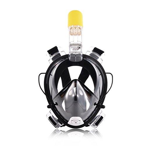 Boccaglio Maschera Full Face Scuba Diving Maschera Snorkeling Set per sport acquatici nuoto Diving Mare Nero, Adulto