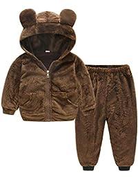 Chaqueta de invierno para niños Traje de dos piezas para bebés, niñas y niños pequeños, trajes cálidos para el invierno, espesar, chaqueta con capucha de lana con pantalones cálidos chaqueta de bebé a