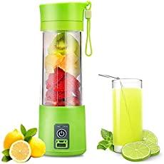 DFS 2 in 1 Portable USB JUICER BLENDER 380ml Bottle with Rechargeable Power Bank, USB Cable (Free Gift Worth 199/-)(Colors may Vary)