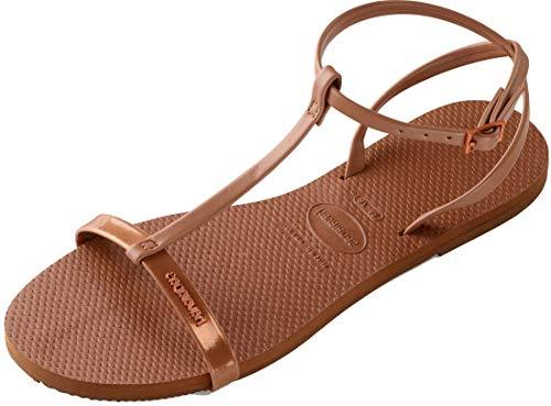 Havaianas Damenschuhe, Belize, Sandalen mit Riemen Aus Ökoleder und Einem Farbigen Querriemen, Braun (Rust), EU 42-43