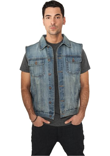 URBAN CLASSICS Denim Weste, light blue, Gr. XXL Urban Denim Jacke