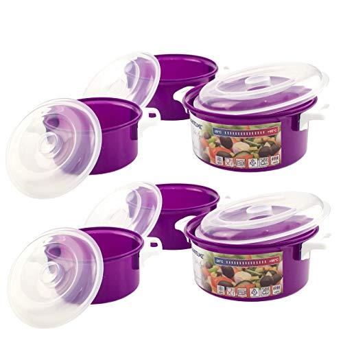 Lantelme 6 Stück Mikrowellenschüssel Set Kunststoff Farbe violett Schüssel Mikrowelle Deckel Spülmaschinenfest 7095