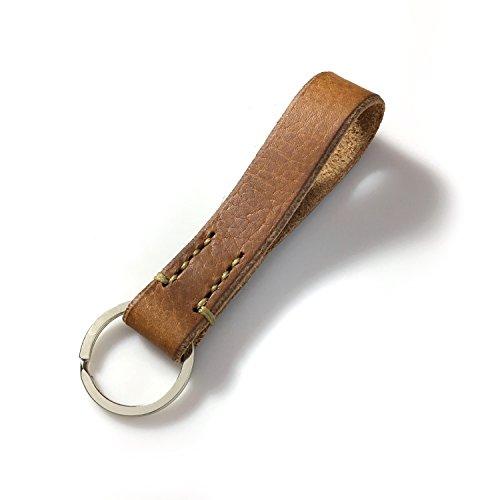 LIEBHARDT - Leder Schlüsselanhänger aus pflanzlich gegerbtem Echt-Leder - massive Sattlernaht - handstitched handmade in Germany (natur mit dunkelbeiger Naht)