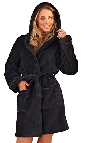 Womens Koralle Fleece Super Weich Warm Robe Mit Kapuze - Schwarz, Damen, L (Mit Robe Satin Kapuze)