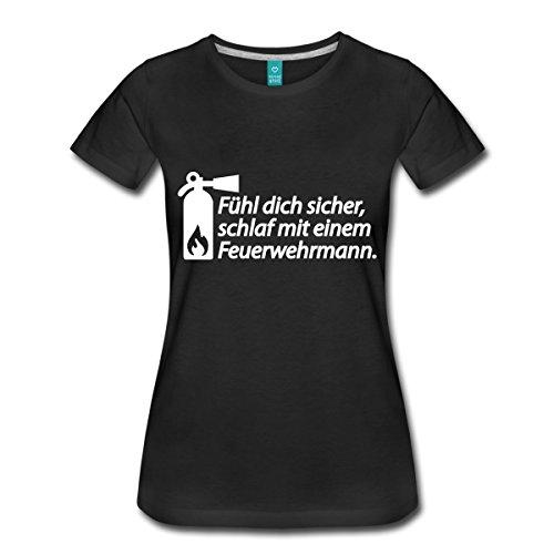 Spreadshirt Feuerwehr Schlaf Mit Einem Feuerwehrmann Frauen Premium T-Shirt, S, Schwarz (Feuerwehrmann T-shirt Schwarz)