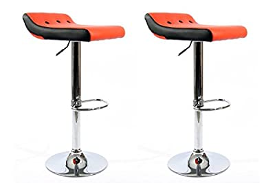 2x Barstools Orange / Black Faux leather height adjustable