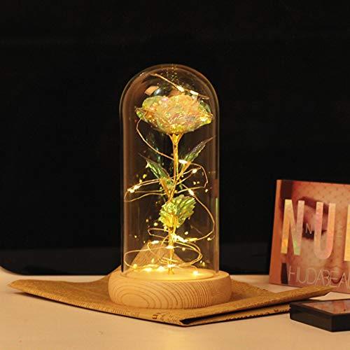 Muttertag Romantische Rose LED Glasflasche Lampe Nachtlicht Home Room Decor Valentine for Your Lover Sweetheart Dekorative Lichter (B) - Gold Leaf 12 Licht